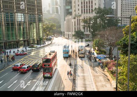 traffic in Hongkong street - Stock Photo