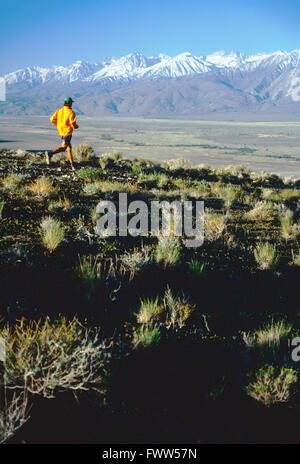 Fit young male athlete trail runner in Sierra Nevada, California, foothills - Stock Photo