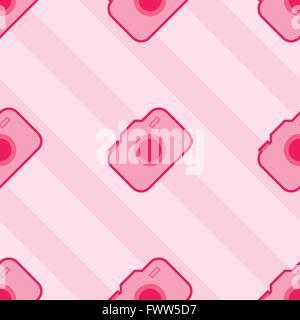Seamless Pink Toy Camera Pattern - Stock Photo