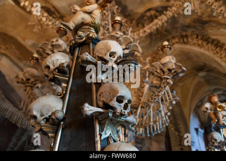 General view of Sedlec Ossuary, Church of Bones in Kutna Hora, designed by real human skeleton bones. - Stock Photo