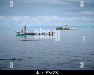 fishing boat in livingston guatemala - Stock Photo