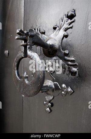 wooden baroque door in antigua guatemala - Stock Photo