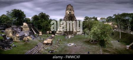 the main square of the Maya city Tikal, Guatemala, Tikal - Stock Photo