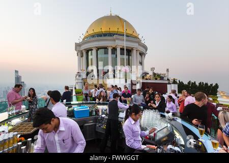 Sky Bar on the Lebua State Tower, guests, Bang Rak district, Bangkok, Thailand - Stock Photo