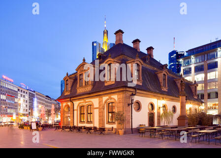 Hauptwache guard house, now a restaurant, Frankfurt, Hesse, Germany - Stock Photo