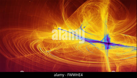 Abstract Background Blue Yellow  Red Lines Curves And Particles - Stock Photo