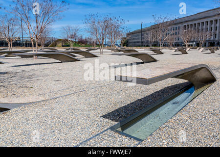 Pentagon Memorial, Arlington County, Virginia, USA.  Individual Memorials Each to a Single Victim.  Pentagon Building - Stock Photo