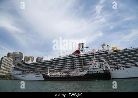Sydney, Australia. 2 March 2016. The Carnival Spirit cruise ship docked at the Overseas Passenger Terminal. - Stock Photo