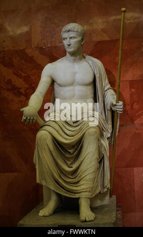 Emperor Augustus (63 BC-14 AD). Statue of Augustus as Jupiter. First half of the 1st century AD. Marble. Found in - Stock Photo