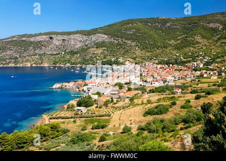 Komiza town on island Vis in Croatia - Stock Photo