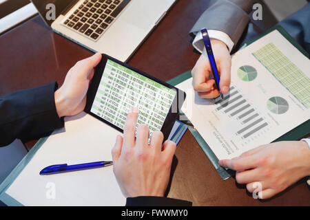 financial planning, business team working on marketing strategy - Stock Photo