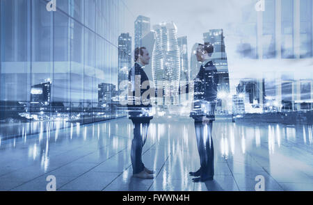 handshake, partnership and collaboration concept, double exposure - Stock Photo