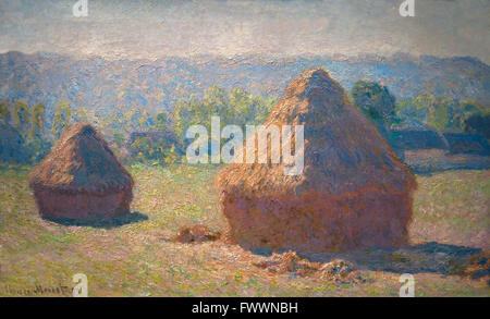 Haystacks, end of summer, Meules, fin de l'ete, by Claude Monet, 1890, Musee D'Orsay, Paris, France, Europe - Stock Photo