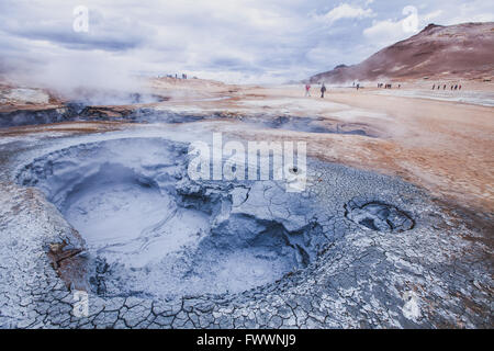 surreal landscape from Iceland, geothermal volcanic area near Myvatn - Stock Photo