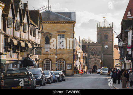 Stratford Upon Avon, view of the High Street in Stratford Upon Avon, England, UK - Stock Photo
