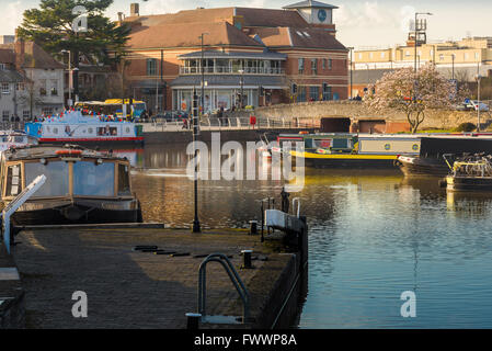 The Bancroft Basin and Canal in the centre of Stratford Upon Avon, England. - Stock Photo