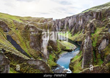 Fjadrargljufur canyon, nature of Iceland, beautiful landscape - Stock Photo