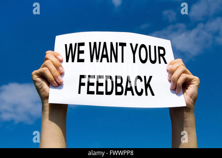 feedback concept, text with request of customer reviews and scores - Stock Photo