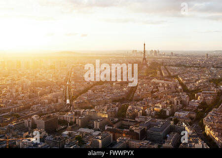beautiful panoramic aerial view of Paris and Eiffel tower at sunset, France - Stock Photo