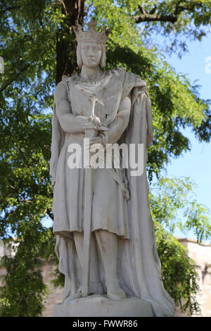 Statue of Saint Louis or Louis IX (1214-1270). King of France.  Vincennes. France. By sculptor A. Mony, 1906. - Stock Photo