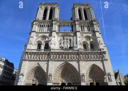 France. Paris. The Western facade of Cathedral of Notre-Dame. Early Gothic. 13th century. Restoration, 19th c. - Stock Photo