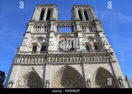 France. Paris. The Western facade of Cathedral of Notre-Dame. Early Gothic. 13th century. Stock Photo