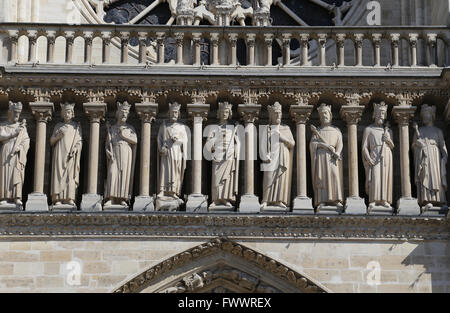 France. Paris. Western facade, Cathedral of Notre-Dame. 13th century. Detail of kings of Judah and Israel. Stock Photo