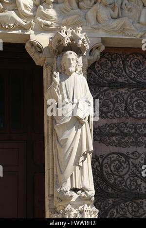 France. Paris. Western facade, Cathedral of Notre-Dame.13th century. Portal of the Last Judgement. Beautiful god, - Stock Photo