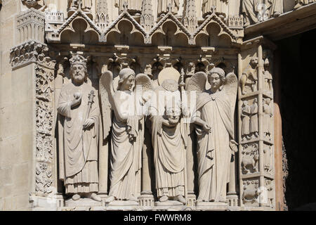 France. Paris.The Western facade of Cathedral of Notre-Dame. Early Gothic. 13th c. Restoration, 19th c. Portal of - Stock Photo