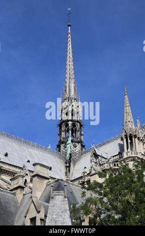 France. Paris. Cathedral of Notre-Dame. Gothic. 13th century. Spire. - Stock Photo