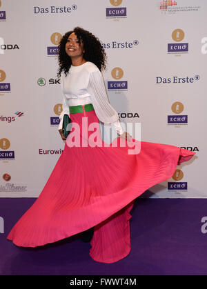 Berlin, Germany. 07th Apr, 2016. Singer Y'Akoto arrives to the 25th Echo music award ceremony in Berlin, Germany, - Stock Photo