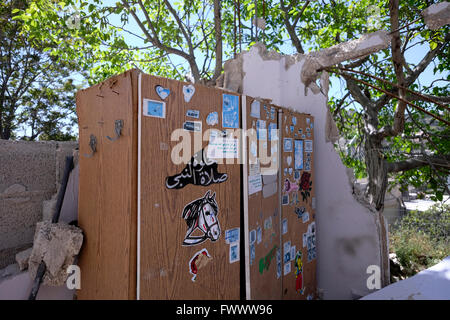 Jerusalem, Israel. 7th April, 2016. An abandoned cupboard of a Palestinian family is seen in the courtyard of a - Stock Photo