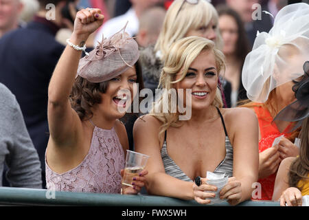 Aintree, Liverpool, UK. 08th Apr, 2016. Crabbies Grand National Festival Day 2. Ladies cheering on their horse on - Stock Photo