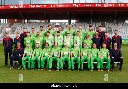 Old Trafford, Manchester, UK. 08th Apr, 2016. Lancashire County Cricket Press Call. Lancashire CCC 1st XI team group - Stock Photo