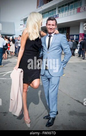 Liverpool, Merseyside, UK 8th April, 2016.   Actor Dean Gaffney attends the 'Ladies Day' at Aintree racecourse with - Stock Photo
