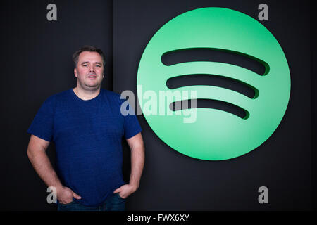 Berlin, Germany. 07th Apr, 2016. Stefan Zilch, CEO of Spotify GmbH, stands in front of the Spotify logo in Berlin, - Stock Photo