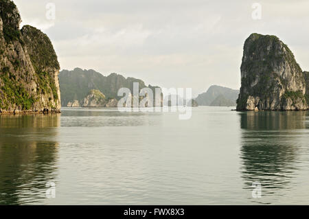 Numerous islets in Bai Tu Long area of Ha Long Bay, Quang Ninh Province, Vietnam - Stock Photo