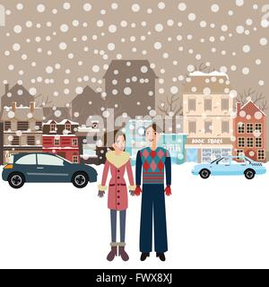 couple man woman male female standing in snow falling winter town wearing jacket car on street city - Stock Photo