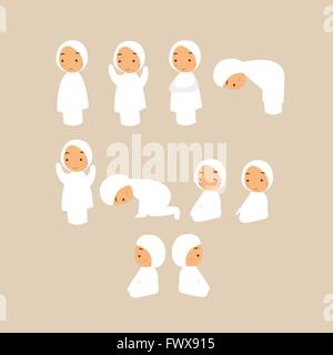 child muslim pray islam praying move cartoon - Stock Photo