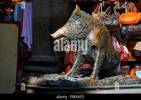 Il Porcellino is the local Florentine nickname for the bronze fountain of a boar. The present statue is a modern - Stock Photo
