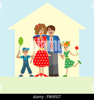 Portrait of four member happy stylish family posing together. Parents with kids. colorful illustration in flat design - Stock Photo