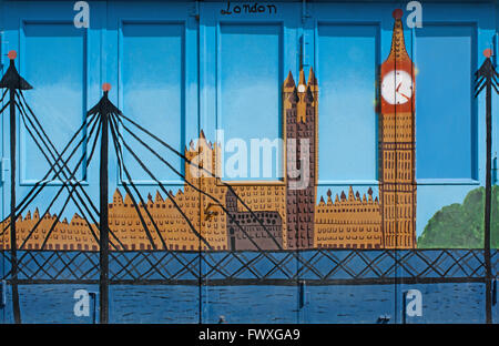 Graffiti painted on a steel door shows London - Stock Photo