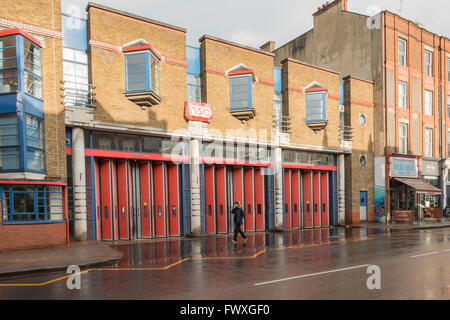 Exterior of Islington Fire Station on Upper Street in Islington, London, UK.  Operated by the London Fire Brigade - Stock Photo