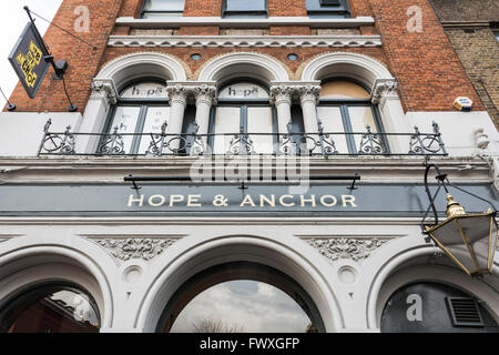 Exterior of the The Hope and Anchor pub in Islington, London, UK. - Stock Photo