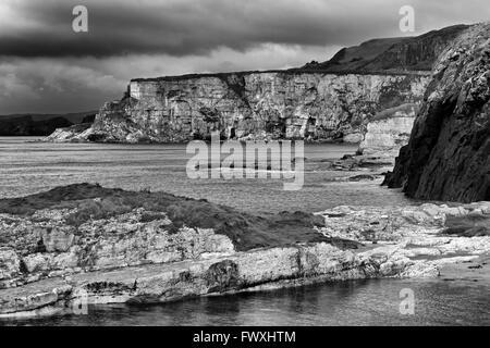 Ballintoy Harbour, Ballintoy Village, County Antrim, Ulster, Northern Ireland, Europe - Stock Photo