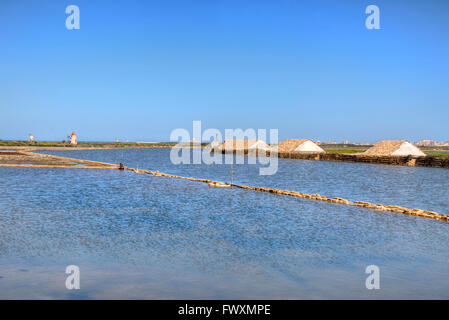 Saline, Trapani, Sicily, Italy, Europe - Stock Photo