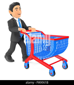 3d business people. Businessman pushing a shopping cart. Isolated white background. - Stock Photo