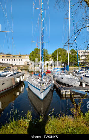 Sailboats in the port of Vannes, commune in the Morbihan department in Brittany in north-western France - Stock Photo