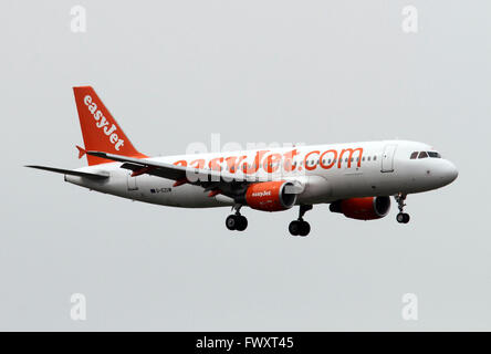 EasyJet, Airbus A320-214 at Linate airport, Milan, Italy - Stock Photo