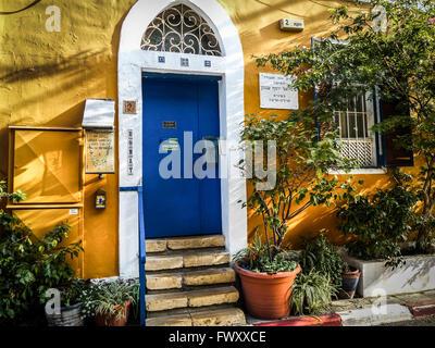 Israel, Tel Aviv, Neve Tzedek, Agnon House. Residence of Nobel prize laureate writer Shmuel Yosef Agnon at 2 Rokah - Stock Photo